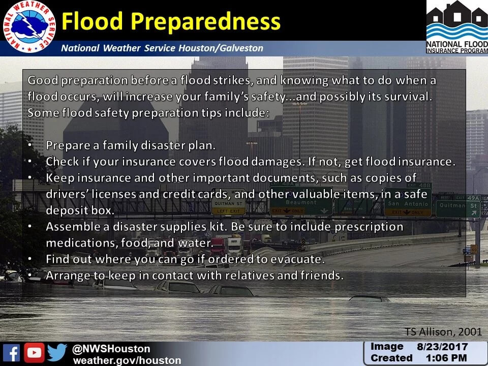 flood preparedness slide from space city weather